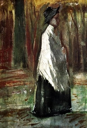 Woman with White Shawl in a Wood