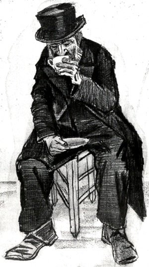 Orphan Man with Top Hat, Drinking Coffee