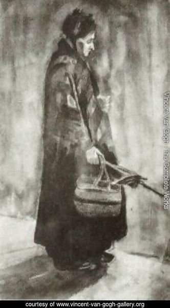 Woman with Shawl, Umbrella and Basket
