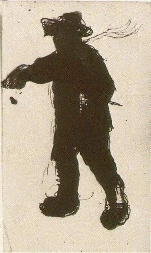 Vincent Van Gogh - Silhouette of a Man with a Rake