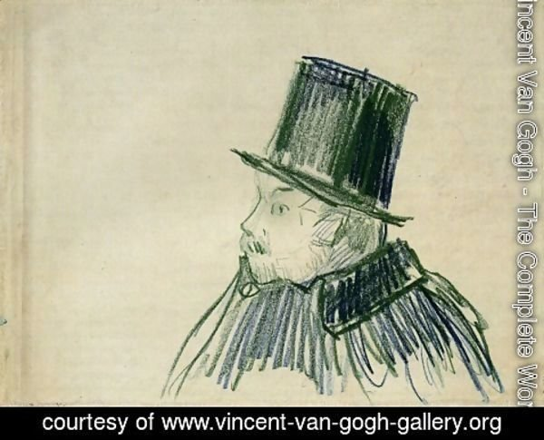 Vincent Van Gogh - Head of a Man with a Top Hat