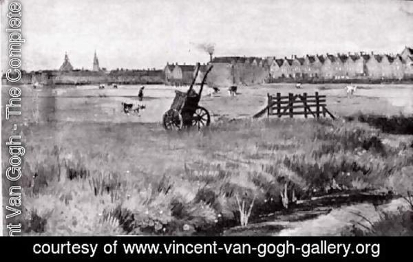 Vincent Van Gogh - Meadow, In the Background New Church