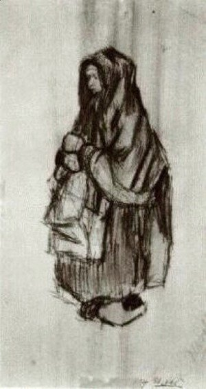 Peasant Woman with Shawl over her Head, Seen from the Side 2