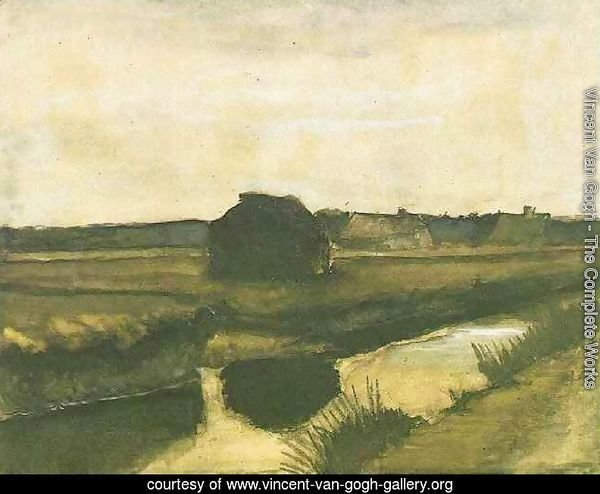 Landscape with a Stack of Peat and Farmhouses