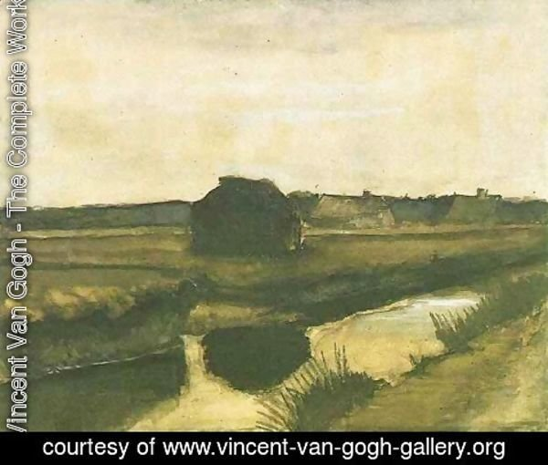 Vincent Van Gogh - Landscape with a Stack of Peat and Farmhouses