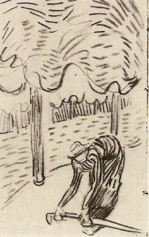 A Woman Picking Up a Stick in Front of Trees