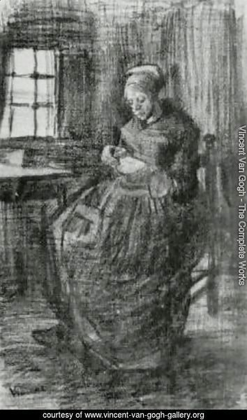 Interior with Peasant Woman Sewing 2