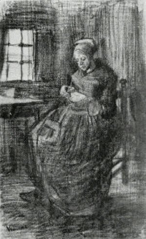 Vincent Van Gogh - Interior with Peasant Woman Sewing 2