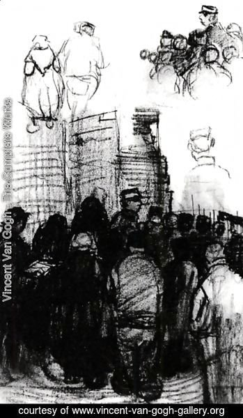 Vincent Van Gogh - Sketches for the Drawing of an Auction