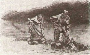 Vincent Van Gogh - Peasant Man and Woman, Digging
