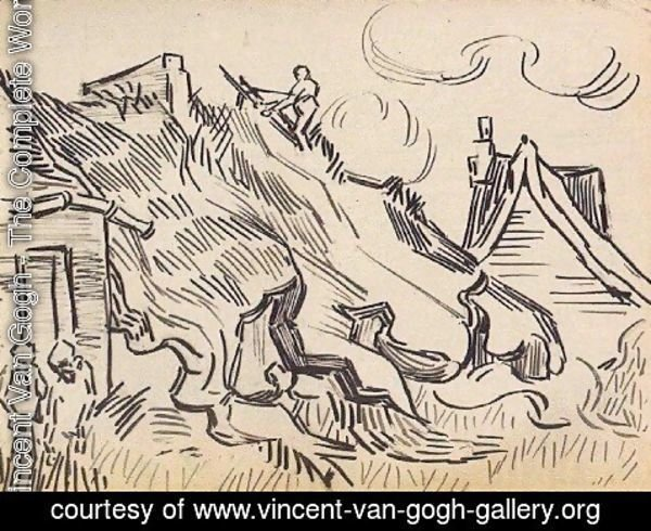 Vincent Van Gogh - Cottages with Thatched Roofs and Figures