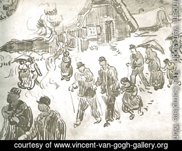 Vincent Van Gogh - People Walking in Front of Snow-Covered Cottage