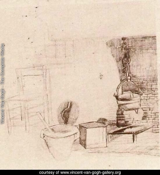Unfinished Sketch of an Interior with a Pan above the Fire