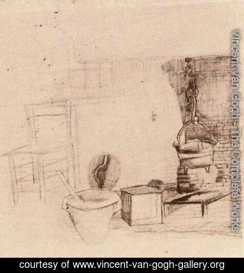 Vincent Van Gogh - Unfinished Sketch of an Interior with a Pan above the Fire