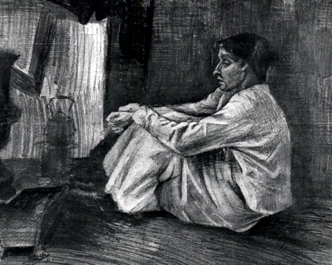 Vincent Van Gogh - Sien with Cigar Sitting on the Floor near Stove