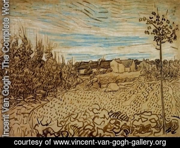 Vincent Van Gogh - Cottages with a Woman Working in the Foreground
