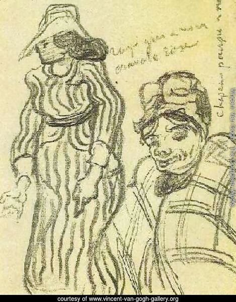 Sketch of a Lady with Striped Dress and Hat and of Another Lady, Half-Figure