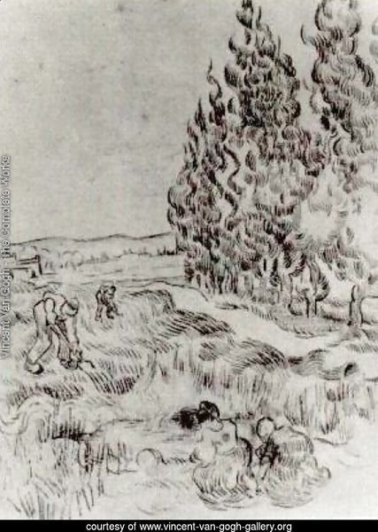 Cypresses with Four People Working in the Field