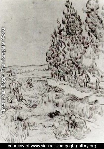 Vincent Van Gogh - Cypresses with Four People Working in the Field