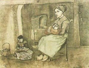 Vincent Van Gogh - Mother at the Cradle and Child Sitting on the Floor