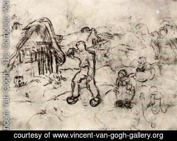 Vincent Van Gogh - Sketches of a Cottage and Figures 2