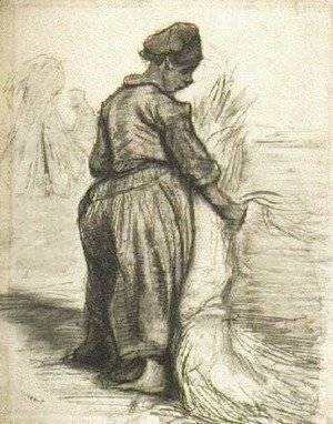 Vincent Van Gogh - Peasant Woman, Binding a Sheaf of Grain