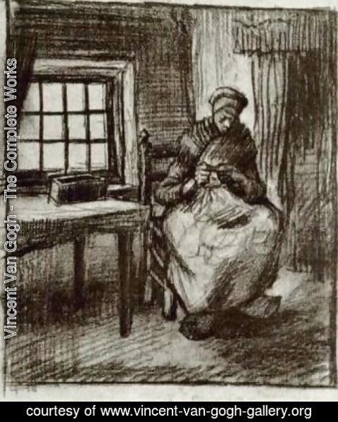 Vincent Van Gogh - Interior with Peasant Woman Sewing 3