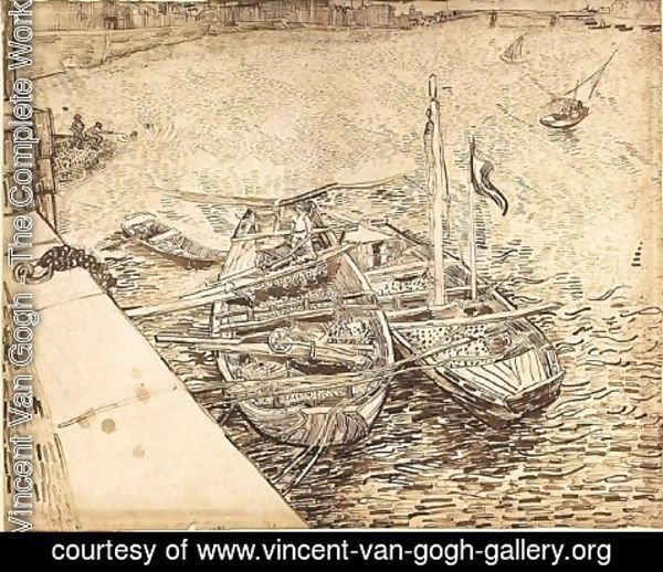 Vincent Van Gogh - Quay with Men Unloading Sand Barges 2
