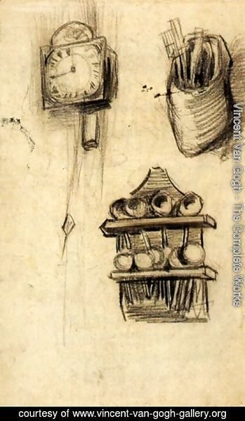 Vincent Van Gogh - Clock, Clog with Cutlery and a Spoon Rack