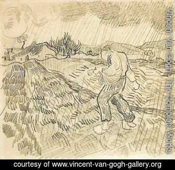 Vincent Van Gogh - Enclosed Field with a Sower in the Rain 2