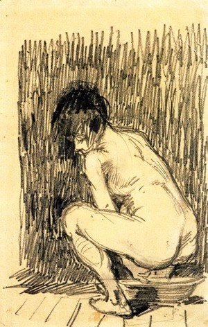 Vincent Van Gogh - Nude Woman Squatting Over a Basin