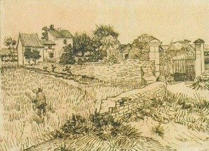 Vincent Van Gogh - Entrance Gate to a Farm with Haystacks