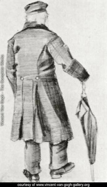 Orphan Man with Long Overcoat and Umbrella, Seen from the Back