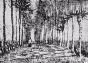 Vincent Van Gogh - Lane with Trees and One Figure