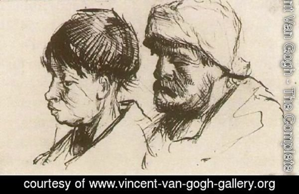 Vincent Van Gogh - Head of a Girl, Bareheaded, and Head of a Man with Beard and Cap