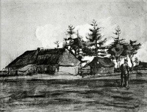 Vincent Van Gogh - Farmhouse with Barn and Trees