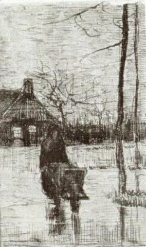 Vincent Van Gogh - Woman with Wheelbarrow at Night