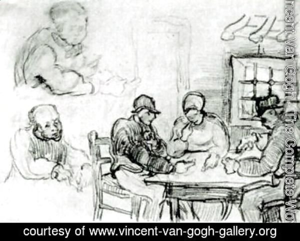 Vincent Van Gogh - Sheet with Peasants Eating and Other Figures
