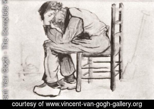 Vincent Van Gogh - Peasant Sitting by the Fireplace (Worn Out)
