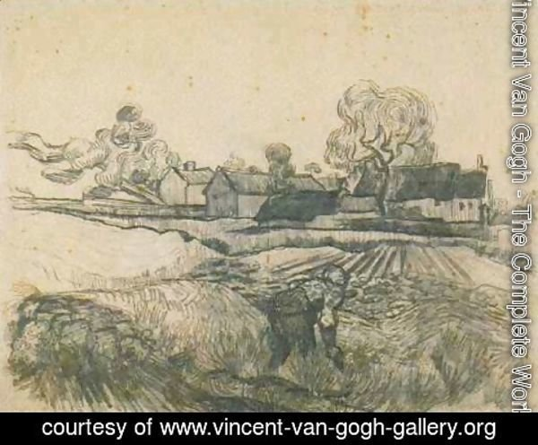Vincent Van Gogh - Cottages with a Woman Working in the Foreground 2
