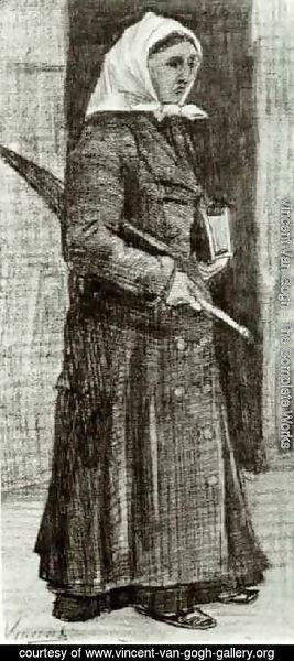 Vincent Van Gogh - Sien with Umbrella and Prayer Book
