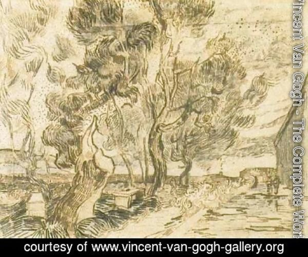 Vincent Van Gogh - A Corner of the Asylum and the Garden with a Heavy, sawn-off Tree