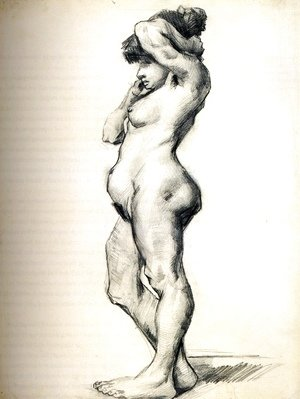 Standing Female Nude Seen from the Side
