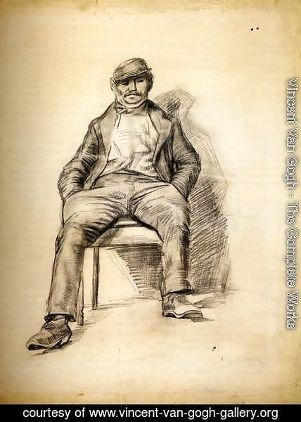Vincent Van Gogh - Seated Man with a Moustache and Cap