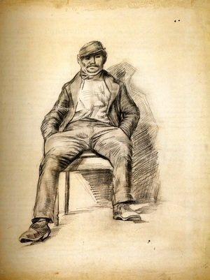 Seated Man with a Moustache and Cap