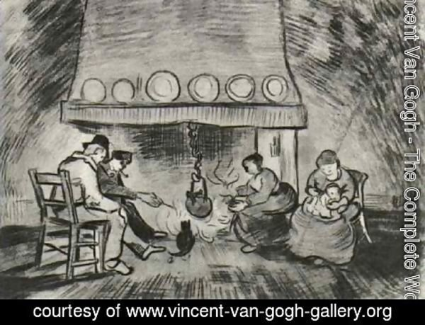 Vincent Van Gogh - Interior of a Farm with Figures at the Fireside