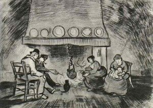 Interior of a Farm with Figures at the Fireside