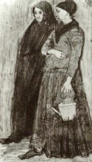 Vincent Van Gogh - Sien Pregnant, Walking with Older Woman