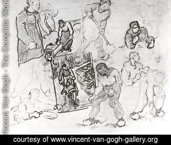 Vincent Van Gogh - Sheet with Sketches of Working People