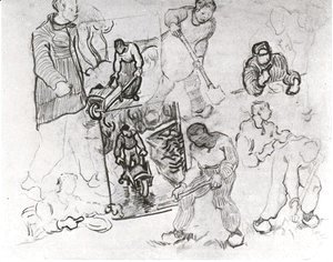 Sheet with Sketches of Working People
